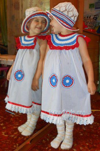 Платье и шляпка для девочки. Работы Галины Лукериной. Вязание крючком.