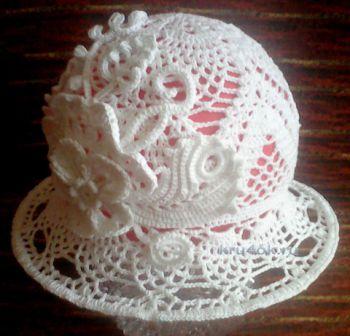 Шляпка для девочки. Работа Нины Колотило. Вязание крючком.