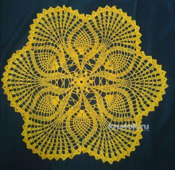 Желтая салфетка крючком. Работа Галины Коржуновой. Вязание крючком.