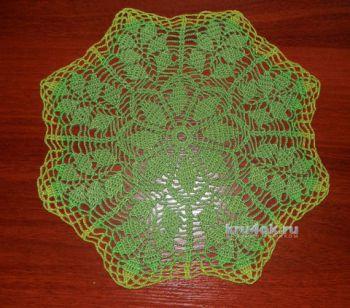 Зеленая вязаная салфетка. Работа Анны. Вязание крючком.