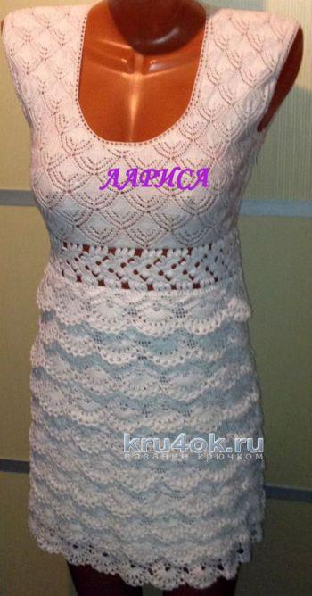 Женское платье крючком. Работа Ларисы Величко