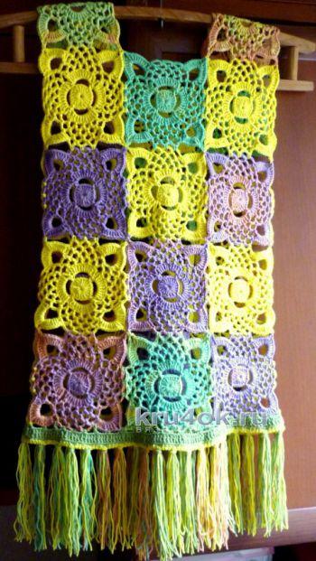 Жилет с бахромой. Работа Олеси Петровой. Вязание крючком.