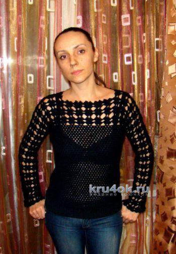 Чёрный пуловер с ажурным верхом. Работа Евгении Руденко. Вязание крючком.