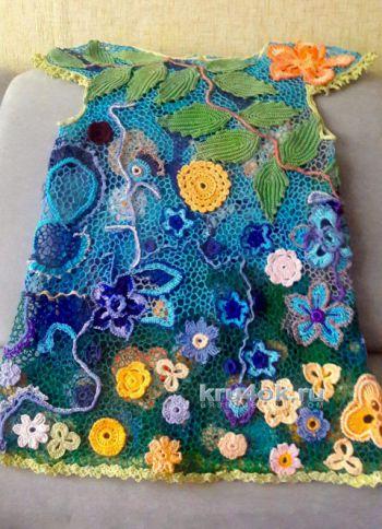 Платье-туника на девочку. Работа Оксаны. Вязание крючком.