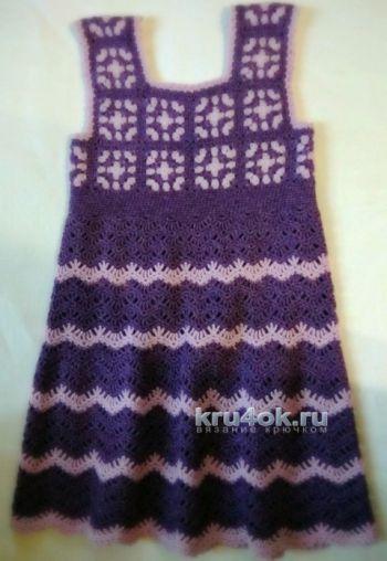 Вязаный сарафан для девочки с мотивами бабушкин квадрат. Вязание крючком.