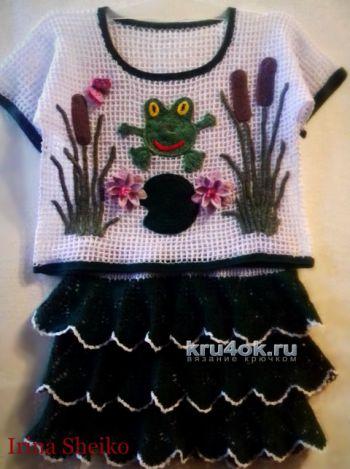 Топ и юбка для девочки. Работы Ирины. Вязание крючком.