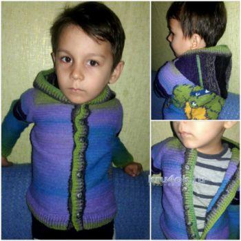 Кофта на мальчика крючком Черепашка Лео. Работа Оксаны. Вязание крючком.