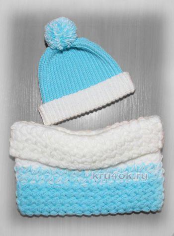Голубая шапка-бини и снуд крючком