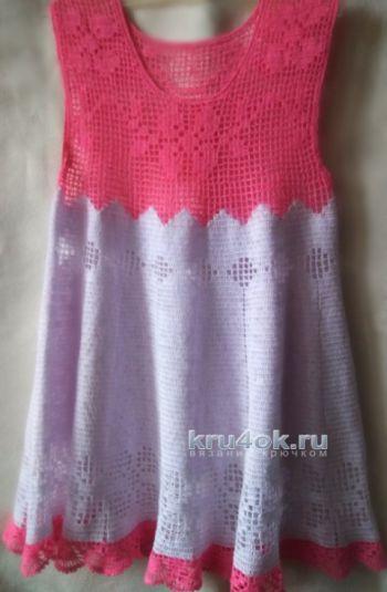 Платье для девочки крючком, филейное вязание
