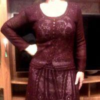 Вязаное платье цвета спелой вишни. Работа Ирины