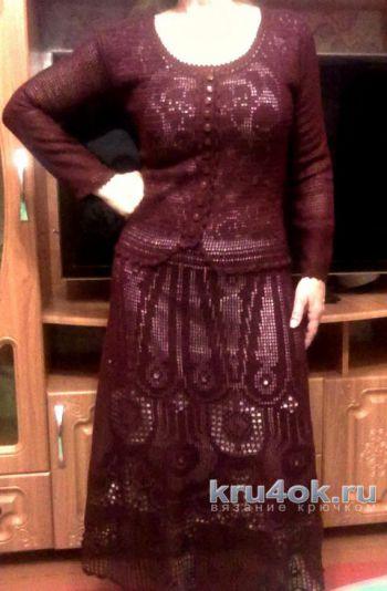 Вязаное платье цвета спелой вишни. Работа Ирины. Вязание крючком.