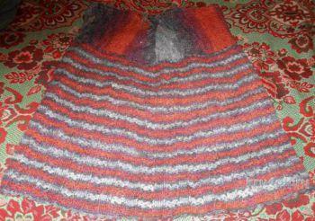 Теплая юбка крючком. Работа Елены. Вязание крючком.