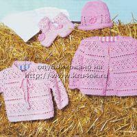 Пуловер, жакет, шапочка и пинетки для малыша
