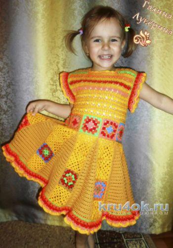 Платье – сарафан для девочки с мотивами бабушкин квадрат. Вязание крючком.
