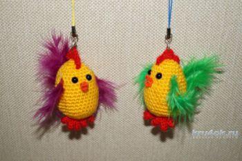 Цыплята — брелочки амигуруми крючком