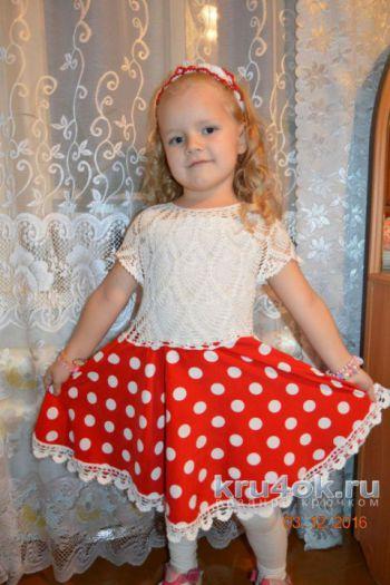 Платье для девочки. Работа Ирины Савельевой. Вязание крючком.