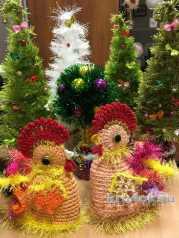 Петушок – новогодний символ. Работа Надежды Борисовой. Вязание крючком.