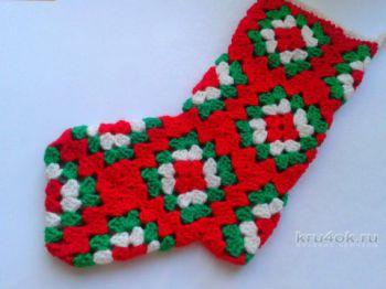 Вязаный носок для подарков. Работа Ирины Обуховой. Вязание крючком.