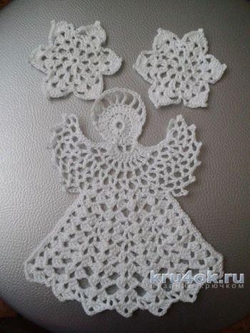 Ангел и снежинки крючком. Работы Ирины Обуховой. Вязание крючком.
