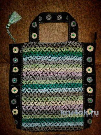 Сумка с вязаной отделкой. Работа Фланденой Татьяны. Вязание крючком.
