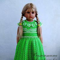 Вязаное платье и шляпка для девочки. Работы Валентины Литвиновой