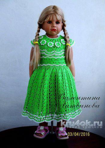 Вязаное платье и шляпка для девочки. Работы Валентины Литвиновой. Вязание крючком.
