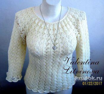 Ажурная блузка цвета экрю. Работа Валентины Литвиновой. Вязание крючком.