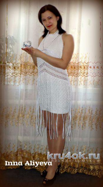 Платье – сарафан крючком. Работа Inna Aliyeva.. Вязание крючком.