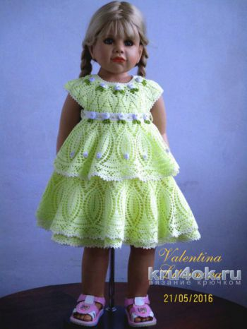 Платье для девочки Канареечка. Работа Валентины Литвиновой. Вязание крючком.