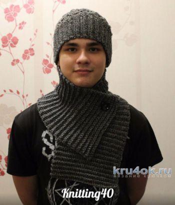 Мужской комплект: шапка и шарф крючком. Работа Анны Касьяновой. Вязание крючком.