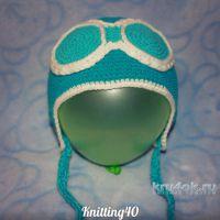 Шапка — шлем летчика крючком. Работа Анны Касьяновой