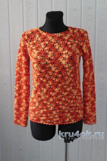 Ажурный пуловер крючком. Работа Ксюши Тихоненко. Вязание крючком.