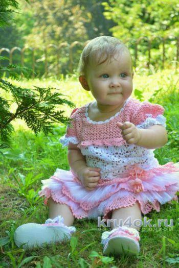 Детское платье крючком. Работа Ксюши Тихоненко. Вязание крючком.