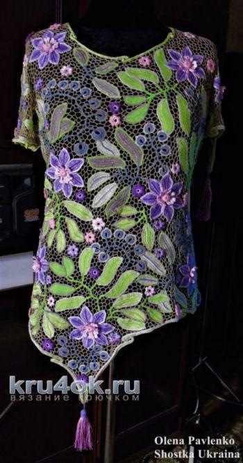 Блуза крючком Летняя пастель. Работа Елены Павленко. Вязание крючком.