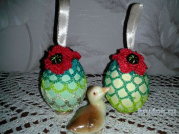 Пасхальное яйцо с цветком мак. Мастер – класс от Фланденой Татьяны. Вязание крючком.