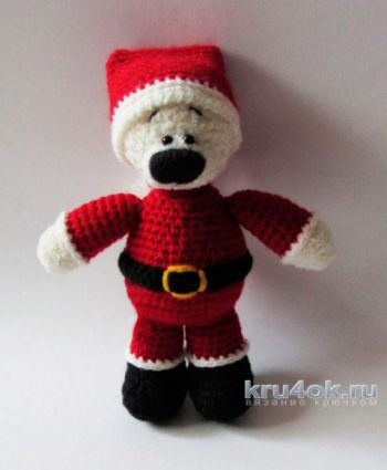 Новогодняя игрушка Мишка - Клаус амигуруми крючком