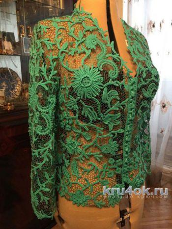 Жакет в стиле ирландского кружева. Работа Людмилы Максютовой. Вязание крючком.