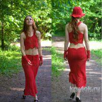 Топ, юбка, маечка, шляпа и митенки Красный квадрат