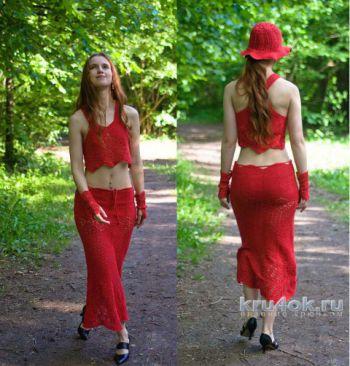Топ, юбка, маечка, шляпа и митенки Красный квадрат. Вязание крючком.