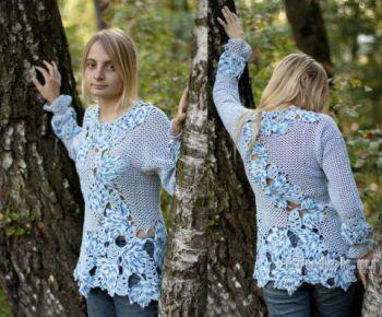 Блузон Синие листья. Работа Татьяны Родионовой. Вязание крючком.