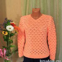 Ажурный пуловер крючком. Работа Анны Касьяновой