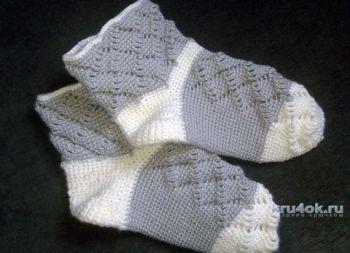 Носочки связанные крючком. Работа Галины. Вязание крючком.