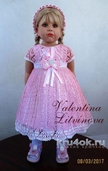 Вязаное крючком детское платье на круглой кокетке