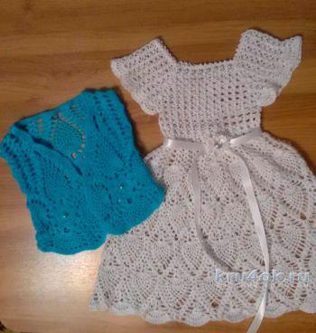Платье и жилет для девочки крючком. Работы Людмилы Кузьминской. Вязание крючком.