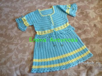 Платье для девочки крючком. Работа Елены Антиповой. Вязание крючком.