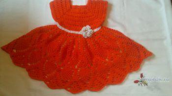 Детское платье крючком. Работа Лауры. Вязание крючком.