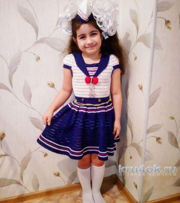 Классическое платье – матроска. Работа Надежды Юсуповой. Вязание крючком.