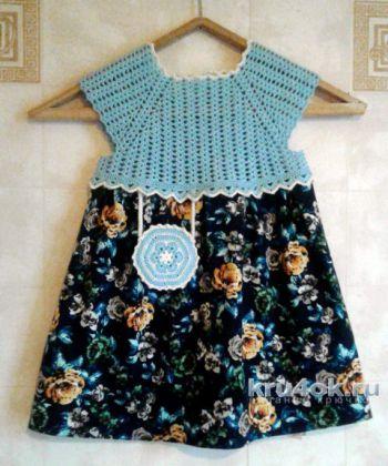 Вязаное платье для девочки. Работа Юлии Ковалевой. Вязание крючком.