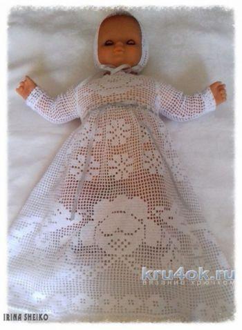 Крестильный комплект для девочки. Работа Ирины Шейко. Вязание крючком.