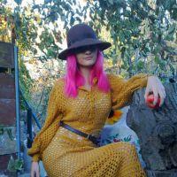 Платье крючком в винтажном стиле. Филейное вязание